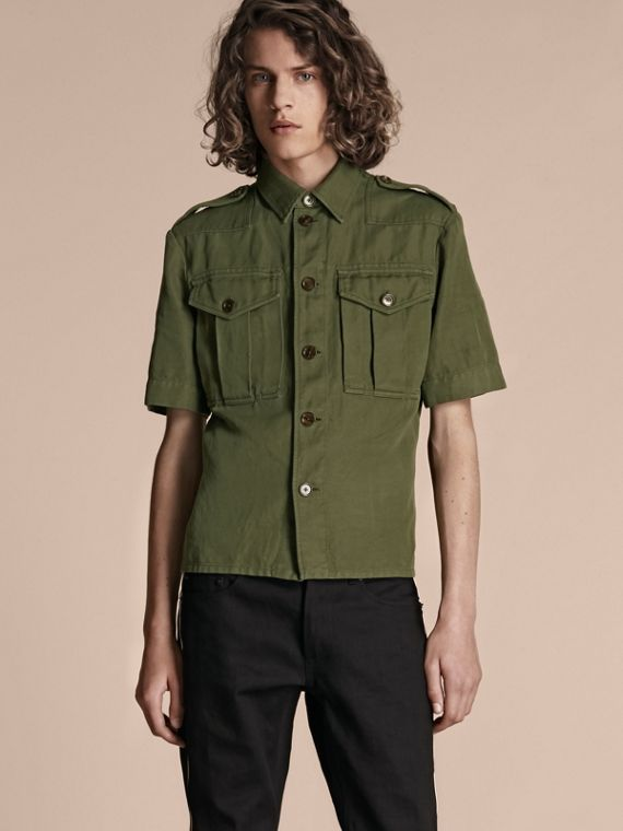 Short-sleeved Ramie Cotton Military Shirt