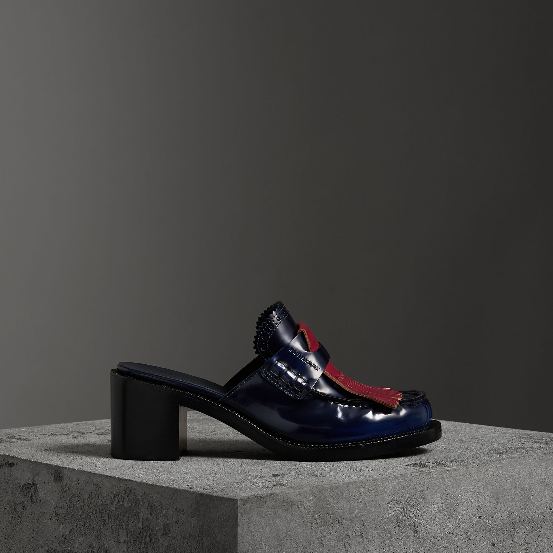 Contrast Kiltie Fringe Leather Block-heel Mules in Navy - Women | Burberry United States - gallery image 0