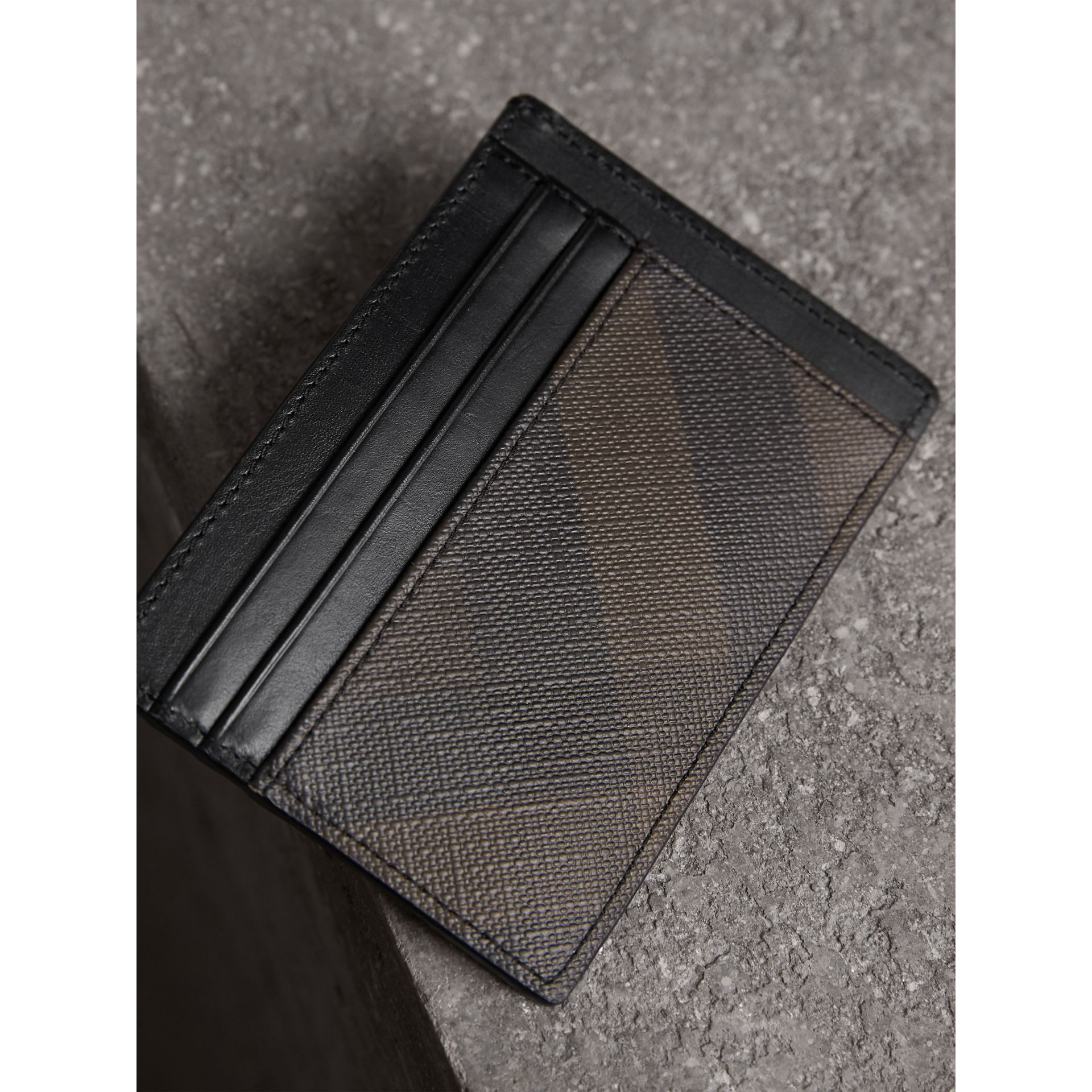 London Check Card Case in Chocolate/black - Men | Burberry United Kingdom - gallery image 2