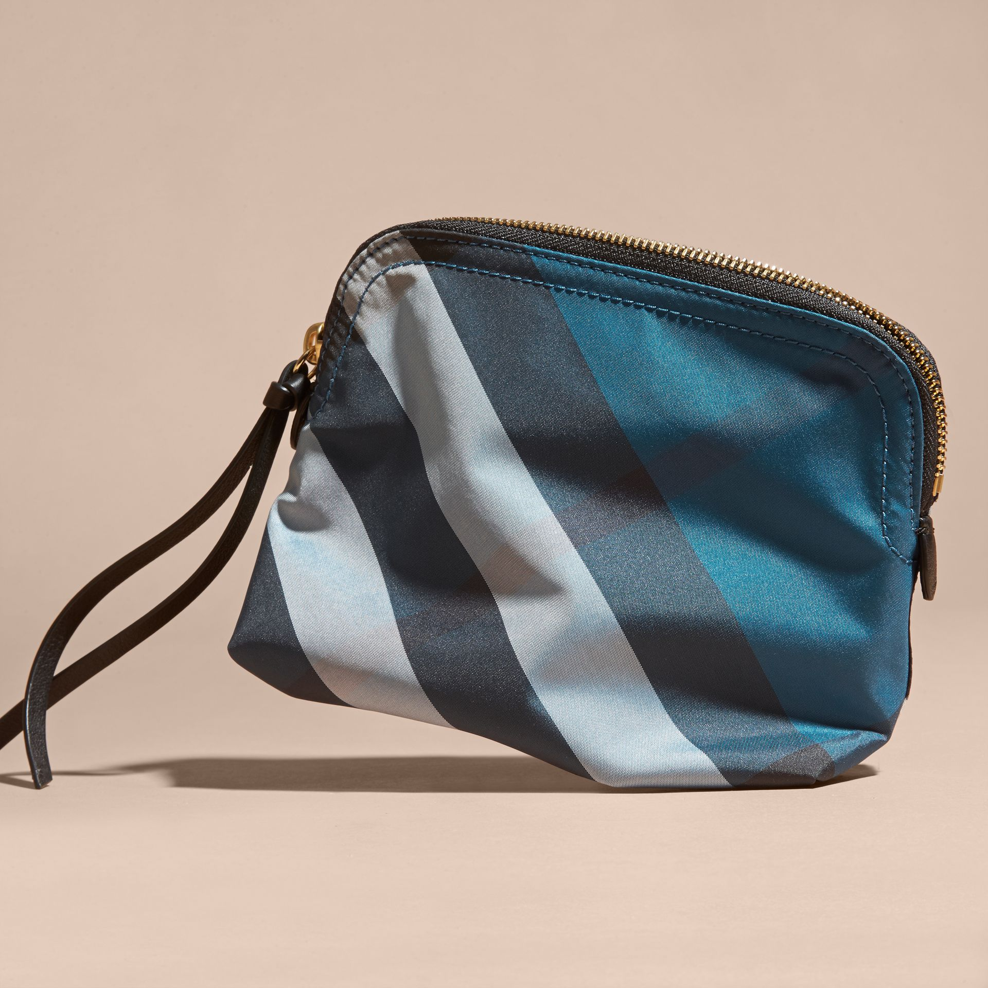 Marine blue Medium Zip-top Check Technical Pouch Marine Blue - gallery image 4