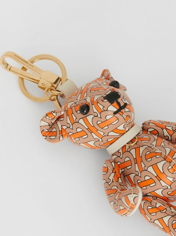 Thomas Bear Charm in Monogram Print Leather in Vermilion | Burberry - cell image 1