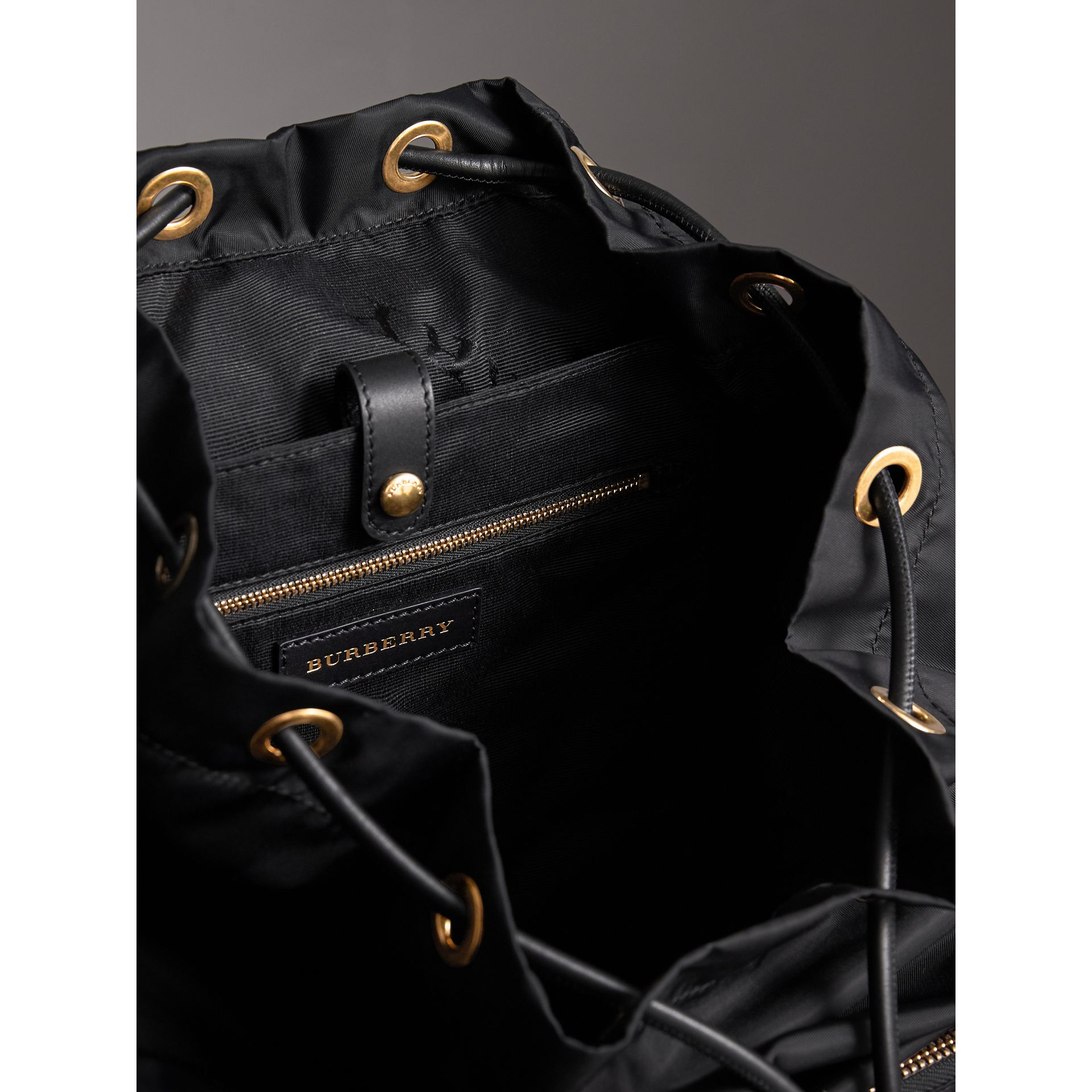 The Large Rucksack in Nylon and Riveted Leather in Black | Burberry - gallery image 6