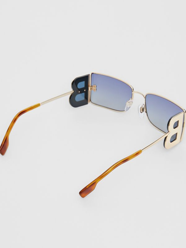 'B' Lens Detail Rectangular Frame Sunglasses in Tortoiseshell - Women | Burberry - cell image 3