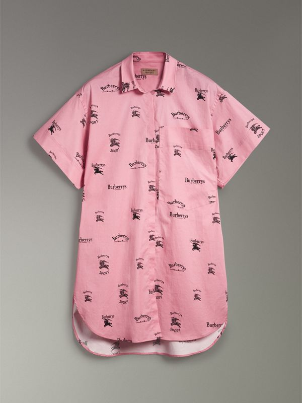 Short-sleeve Archive Logo Print Stretch-cotton Shirt in Pink - Women | Burberry - cell image 3