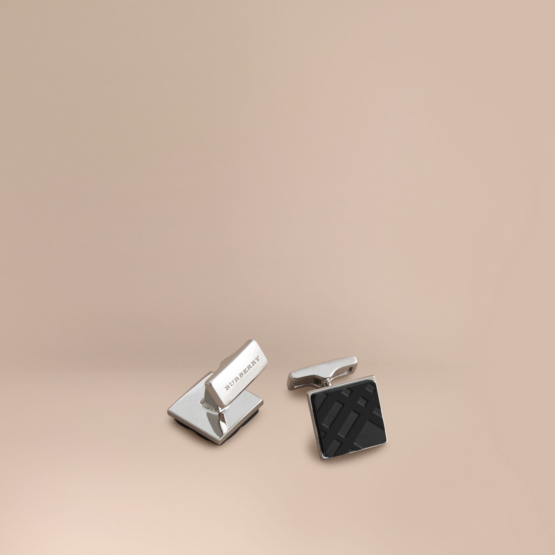 Check-engraved Square Cufflinks in Black - Men | Burberry - gallery image 0
