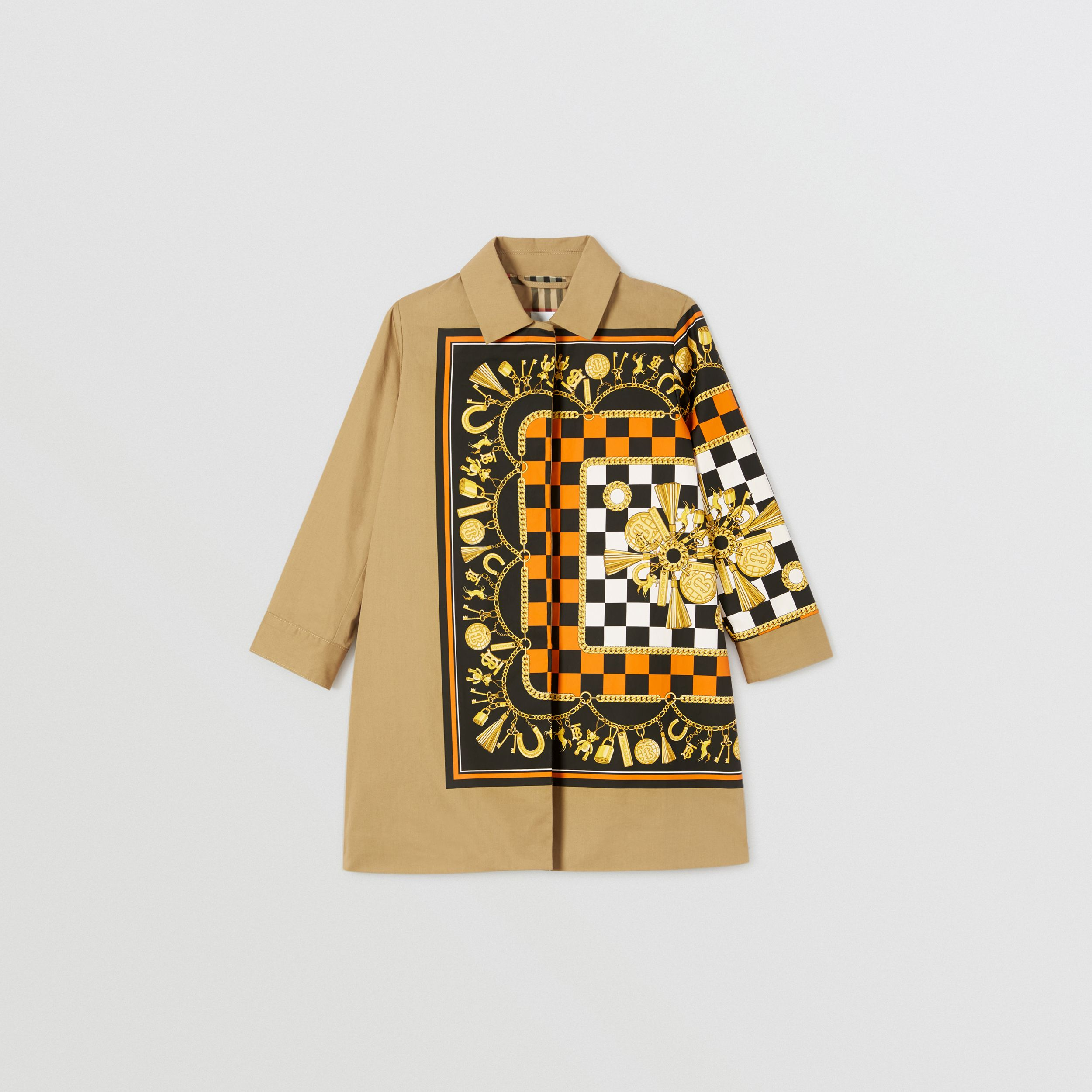 Scarf Print Cotton Twill Car Coat in Honey | Burberry - 1