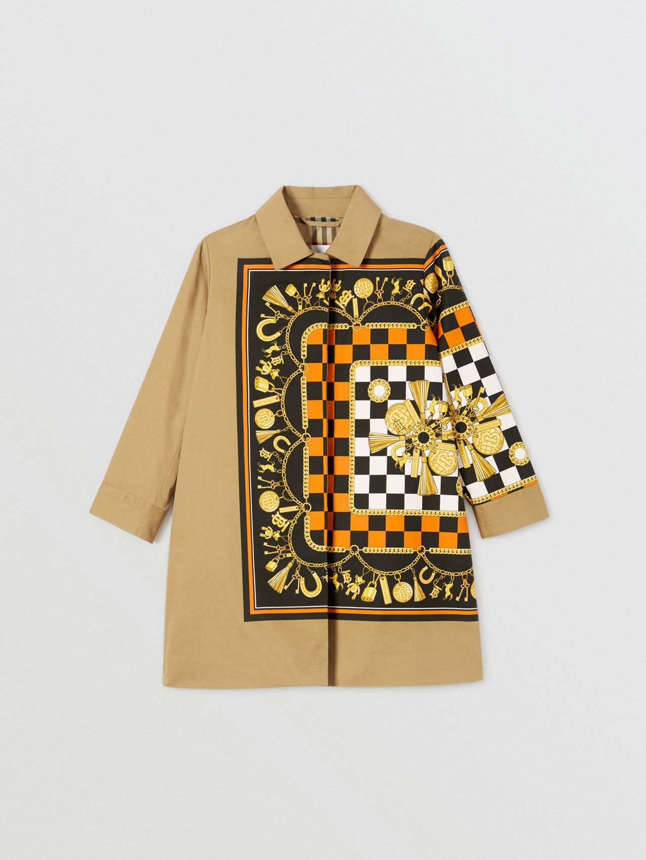 Scarf Print Cotton Twill Car Coat in Honey