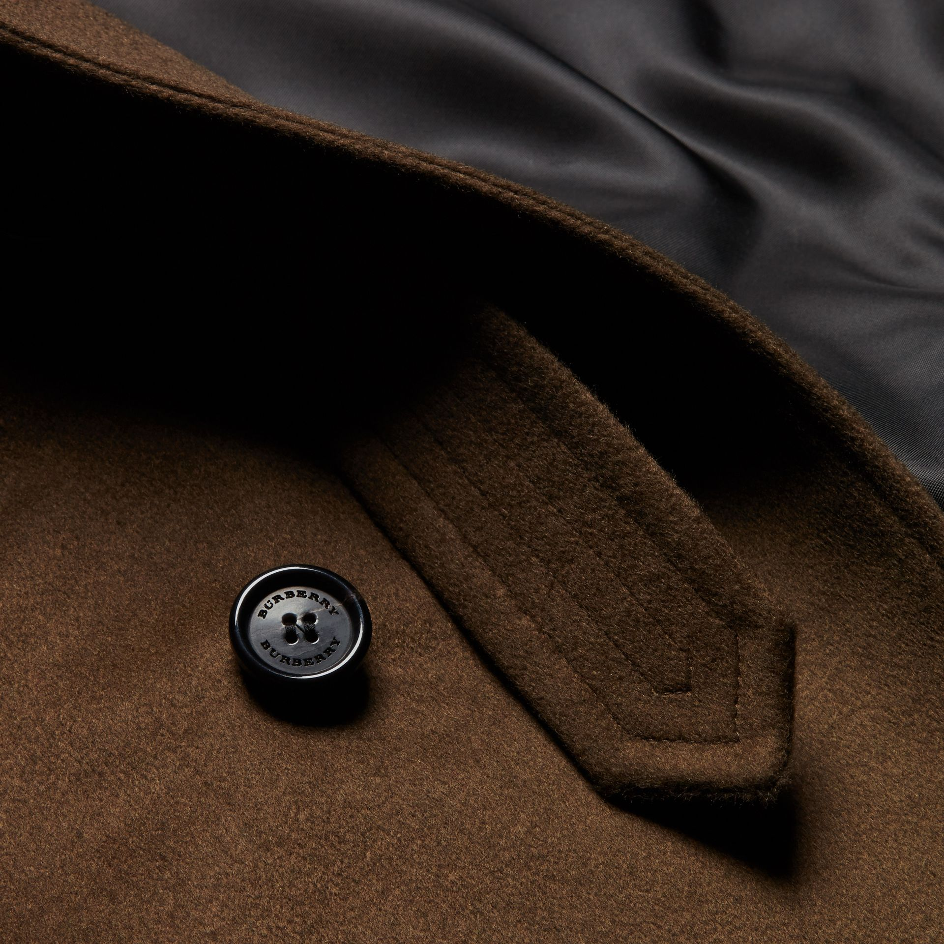 Cashmere Trench Coat in Dark Military Khaki - gallery image 2