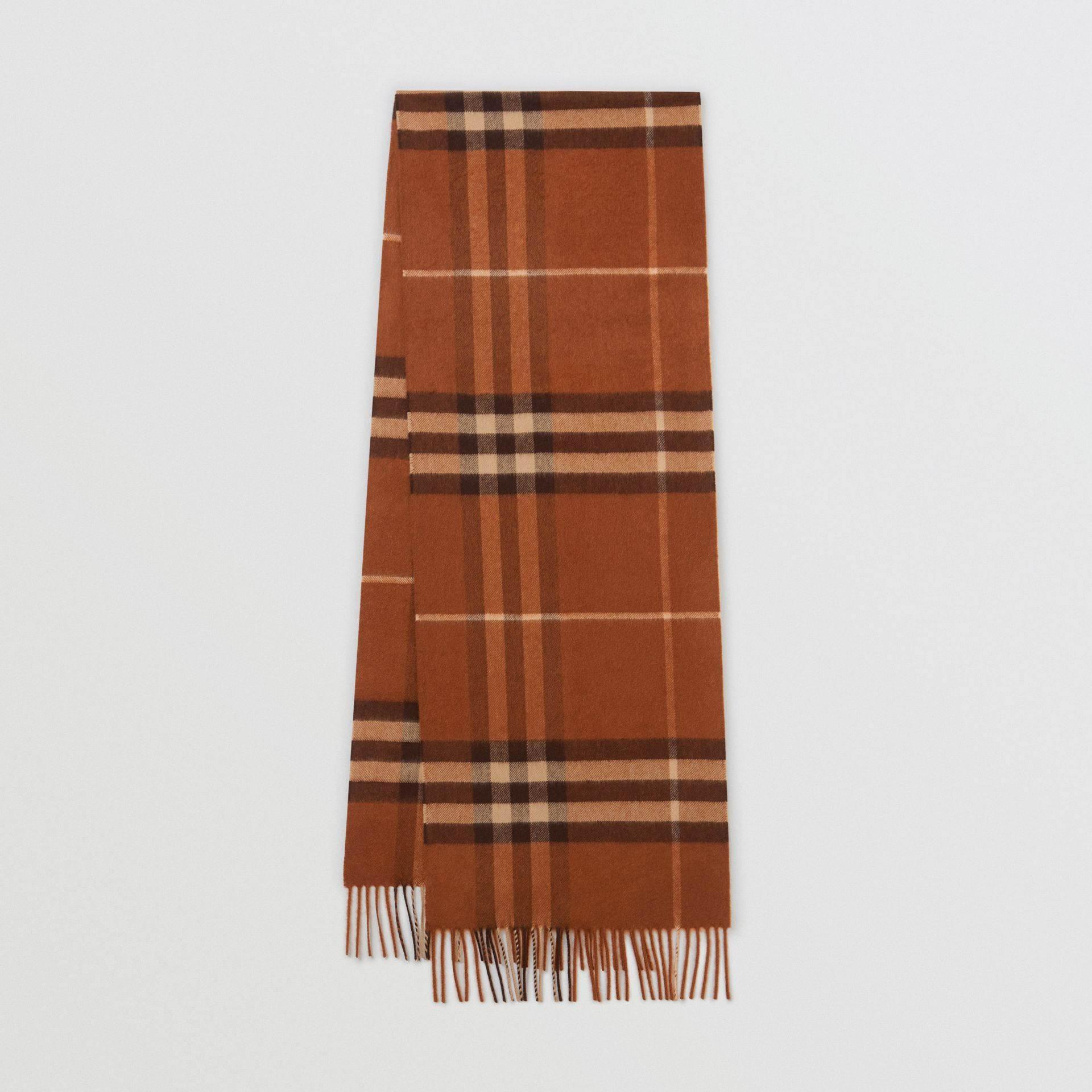 The Classic Check Cashmere Scarf in Chestnut | Burberry - gallery image 0