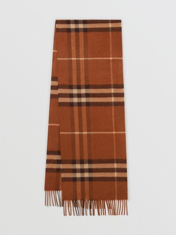 Sciarpa classica in cashmere con motivo tartan (Castano)