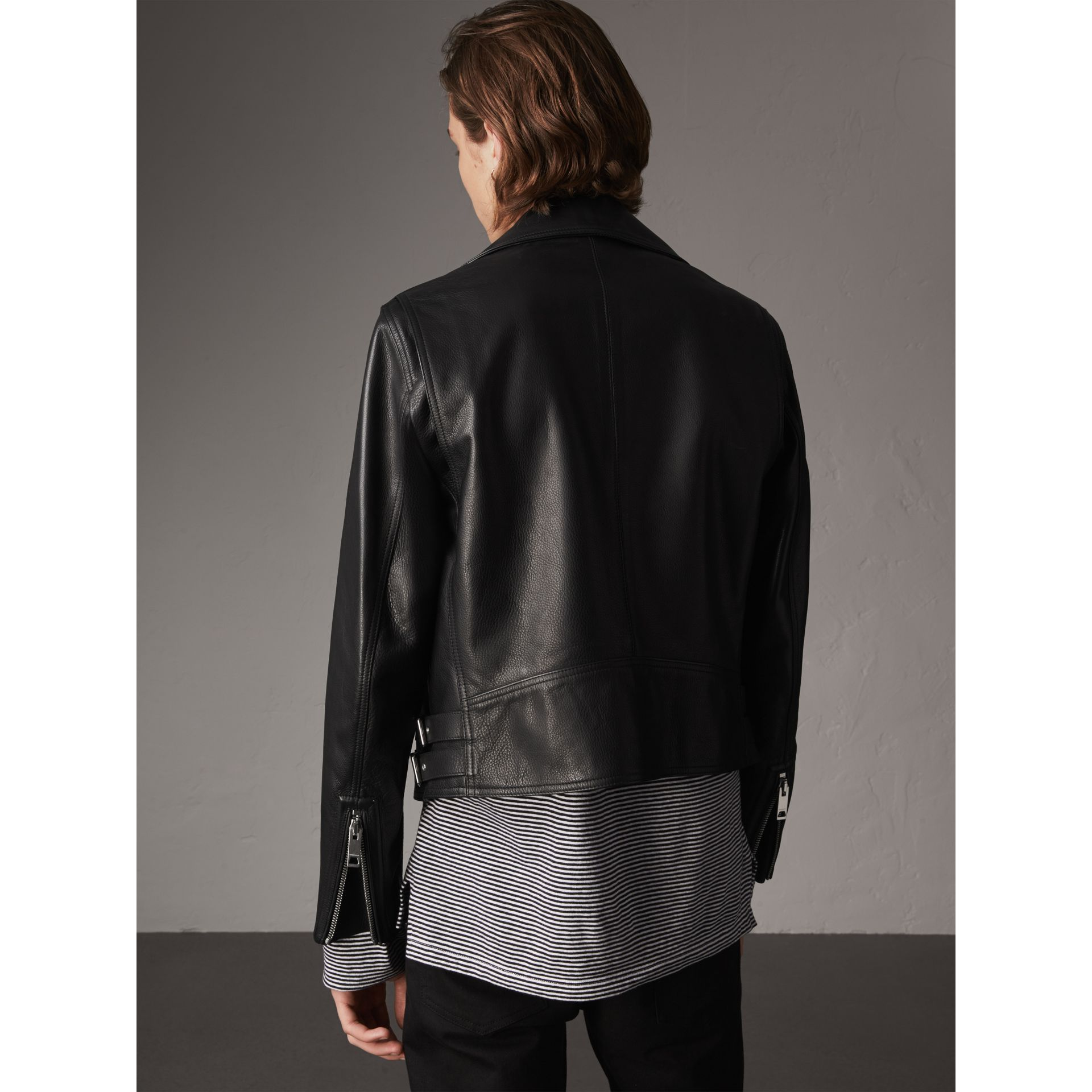 Leather Biker Jacket in Black - Men | Burberry Singapore - gallery image 3