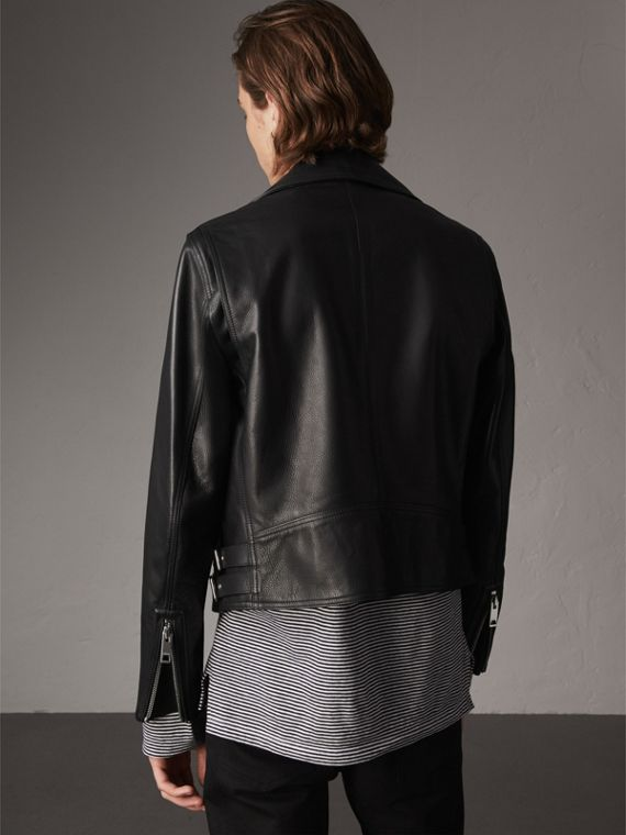 Clean-lined Leather Biker Jacket - Men | Burberry - cell image 2