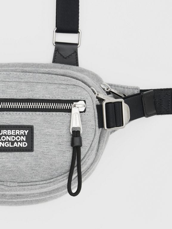 Logo Appliqué Cotton Jersey Cannon Belt Pack in Light Pebble Grey | Burberry - cell image 1