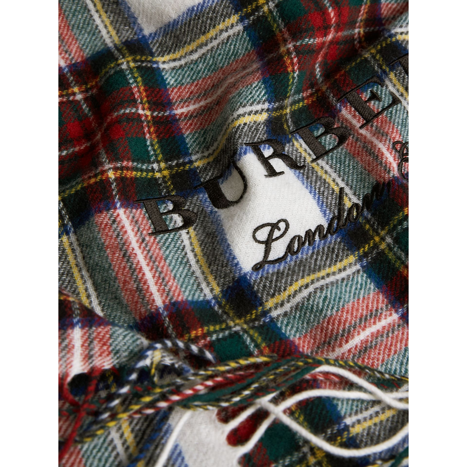 Oversized Tartan Cashmere Merino Wool Scarf in Natural White | Burberry Australia - gallery image 2