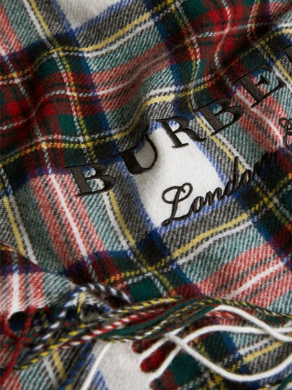 Oversized Tartan Cashmere Merino Wool Scarf in Natural White - Women | Burberry United Kingdom - cell image 1