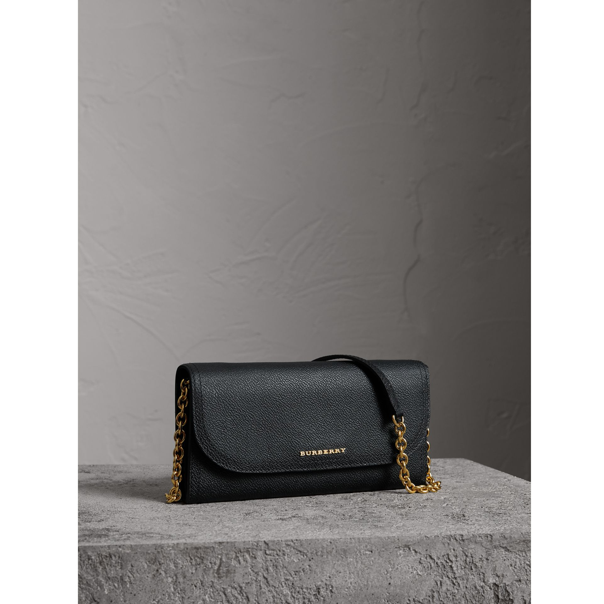 Leather Wallet with Chain in Black - Women | Burberry - gallery image 0