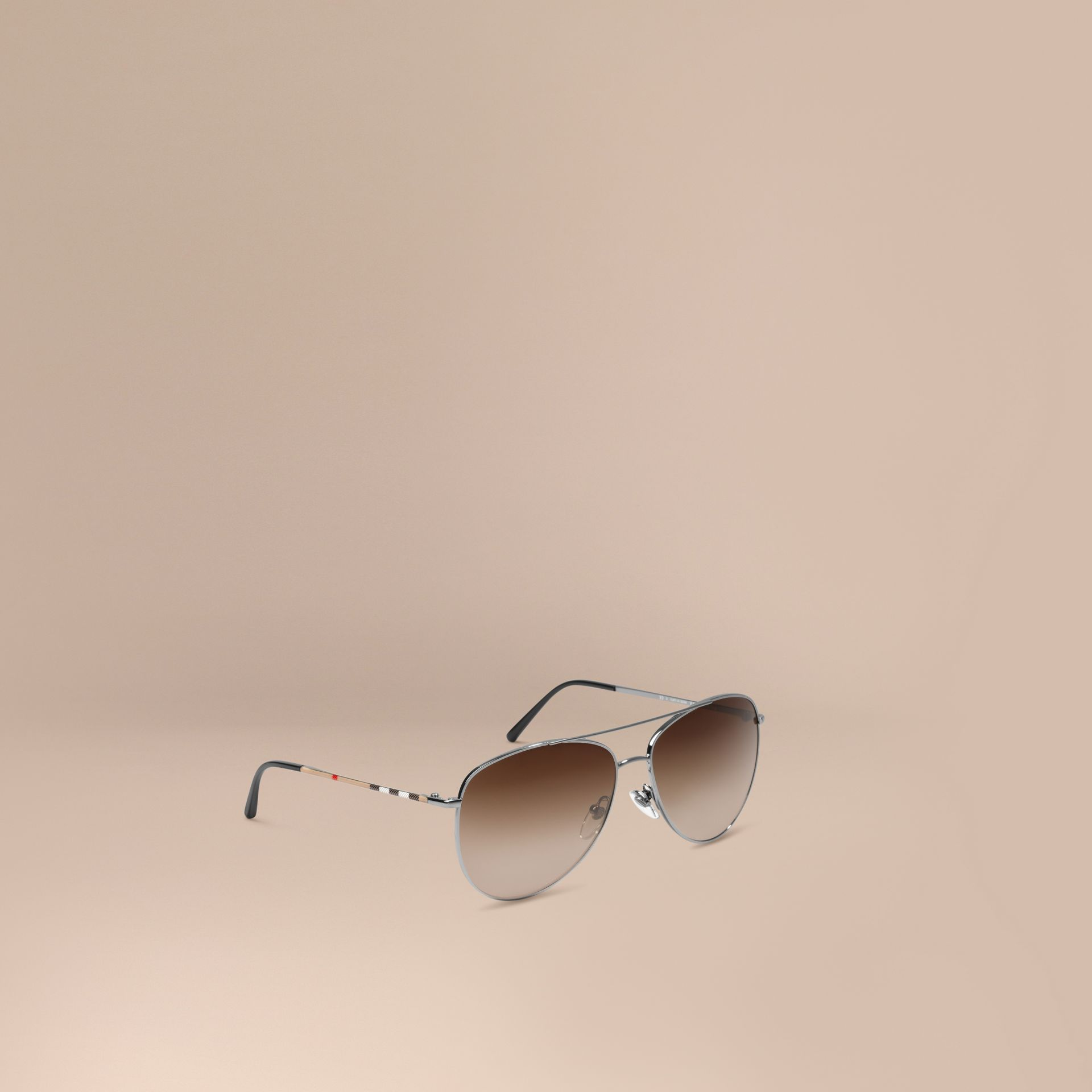 Nickel Check Arm Pilot Sunglasses Nickel - gallery image 1