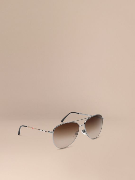 Check Arm Pilot Sunglasses Nickel
