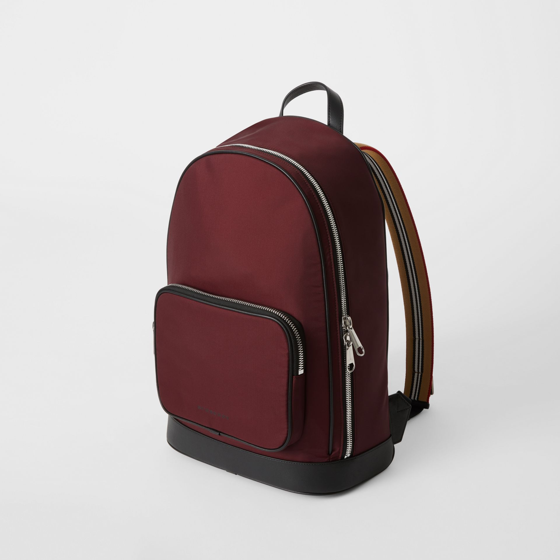 Icon Stripe Detail Nylon Backpack in Oxblood - Men | Burberry - gallery image 4