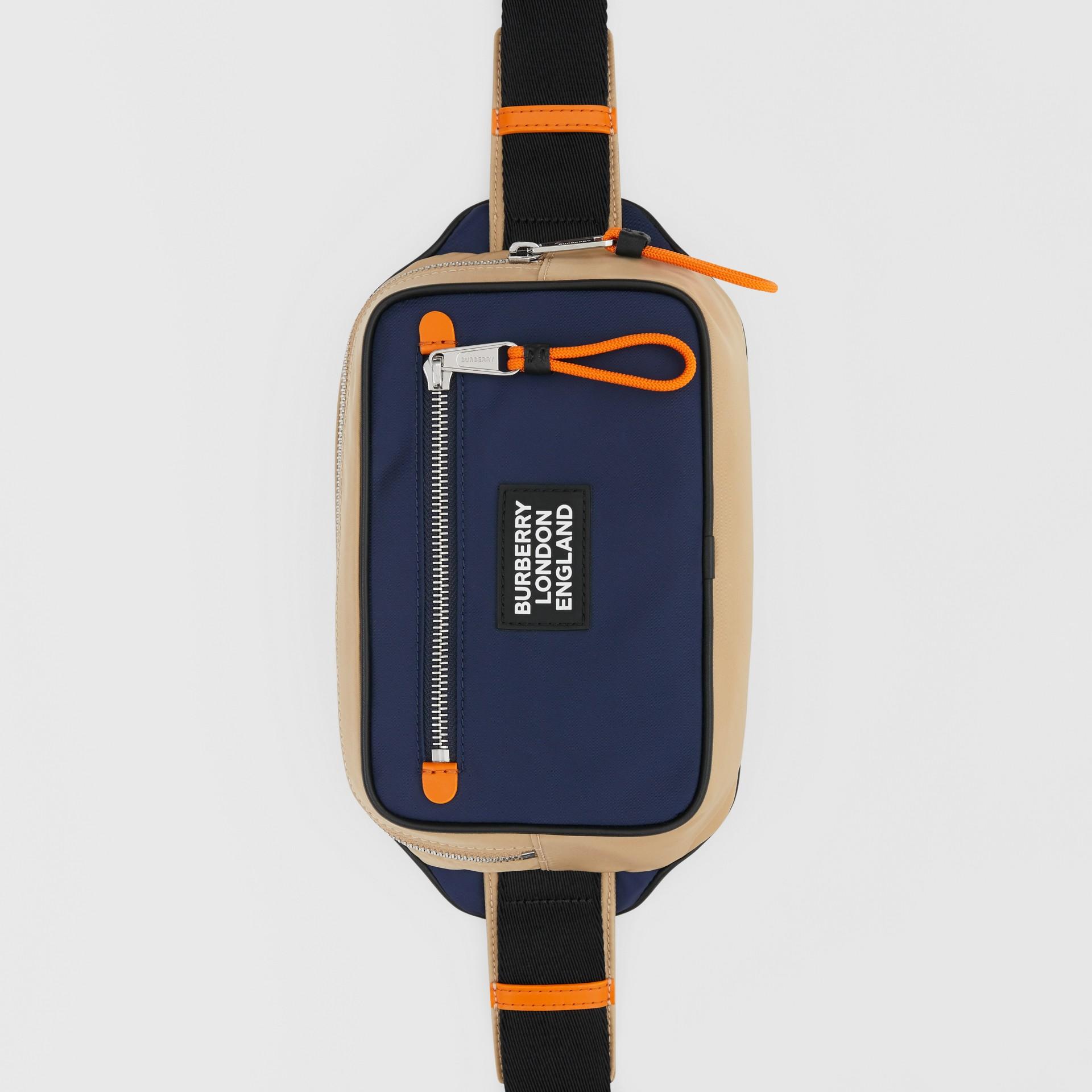 Logo Appliqué Two-tone ECONYL® Bum Bag in Regency Blue/bright Orange | Burberry United Kingdom - gallery image 4
