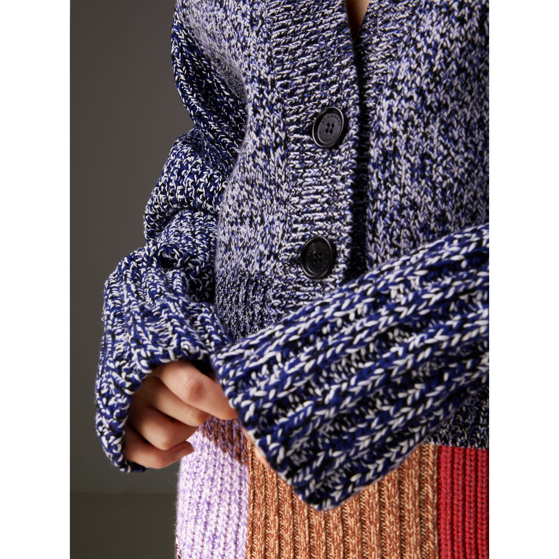 Cashmere Cotton Blend Mouliné Cardigan  in Bright Navy/black - Women | Burberry Canada - gallery image 1