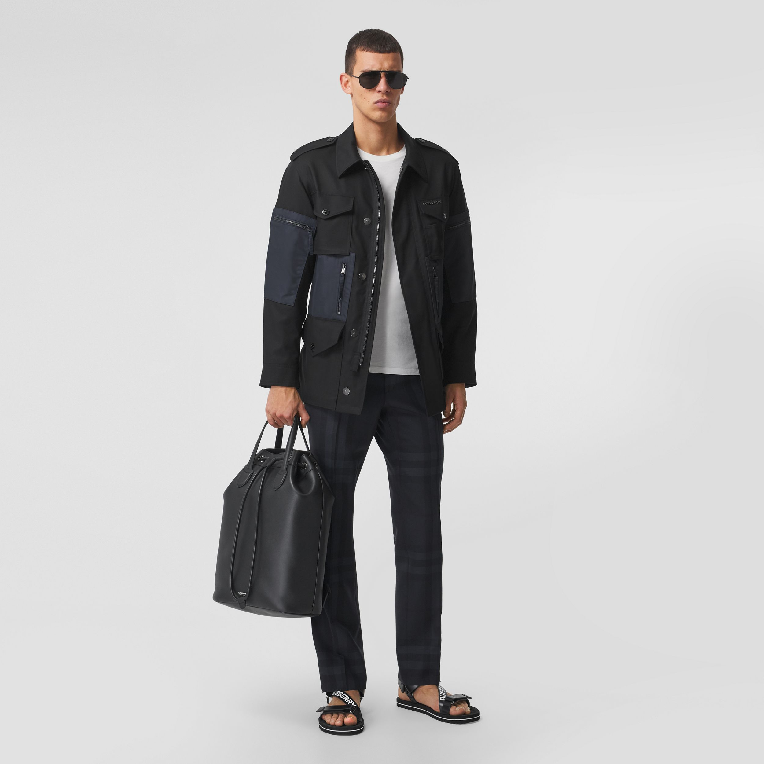 Contrast Pocket Cotton Gabardine Field Jacket in Black - Men | Burberry - 1