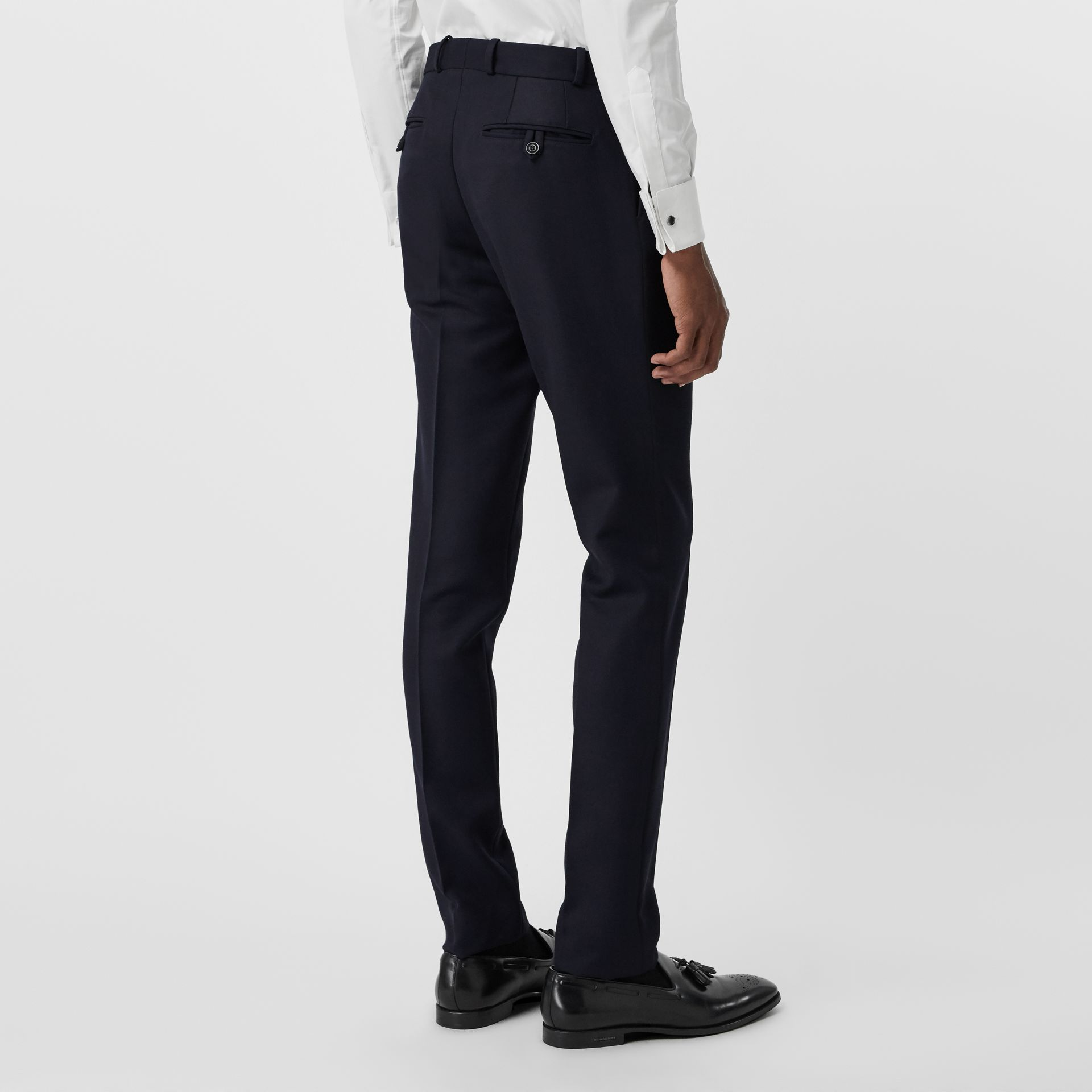 Slim Fit Wool Twill Tailored Trousers in Navy - Men | Burberry - gallery image 2