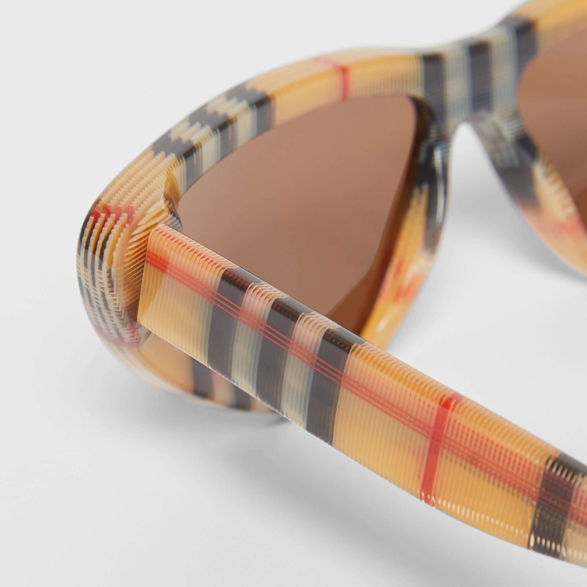 Vintage Check Triangular Frame Sunglasses in Antique Yellow | Burberry - gallery image 1