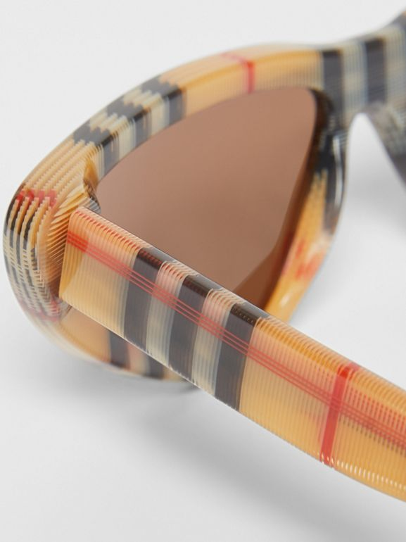 Vintage Check Triangular Frame Sunglasses in Antique Yellow | Burberry Australia - cell image 1