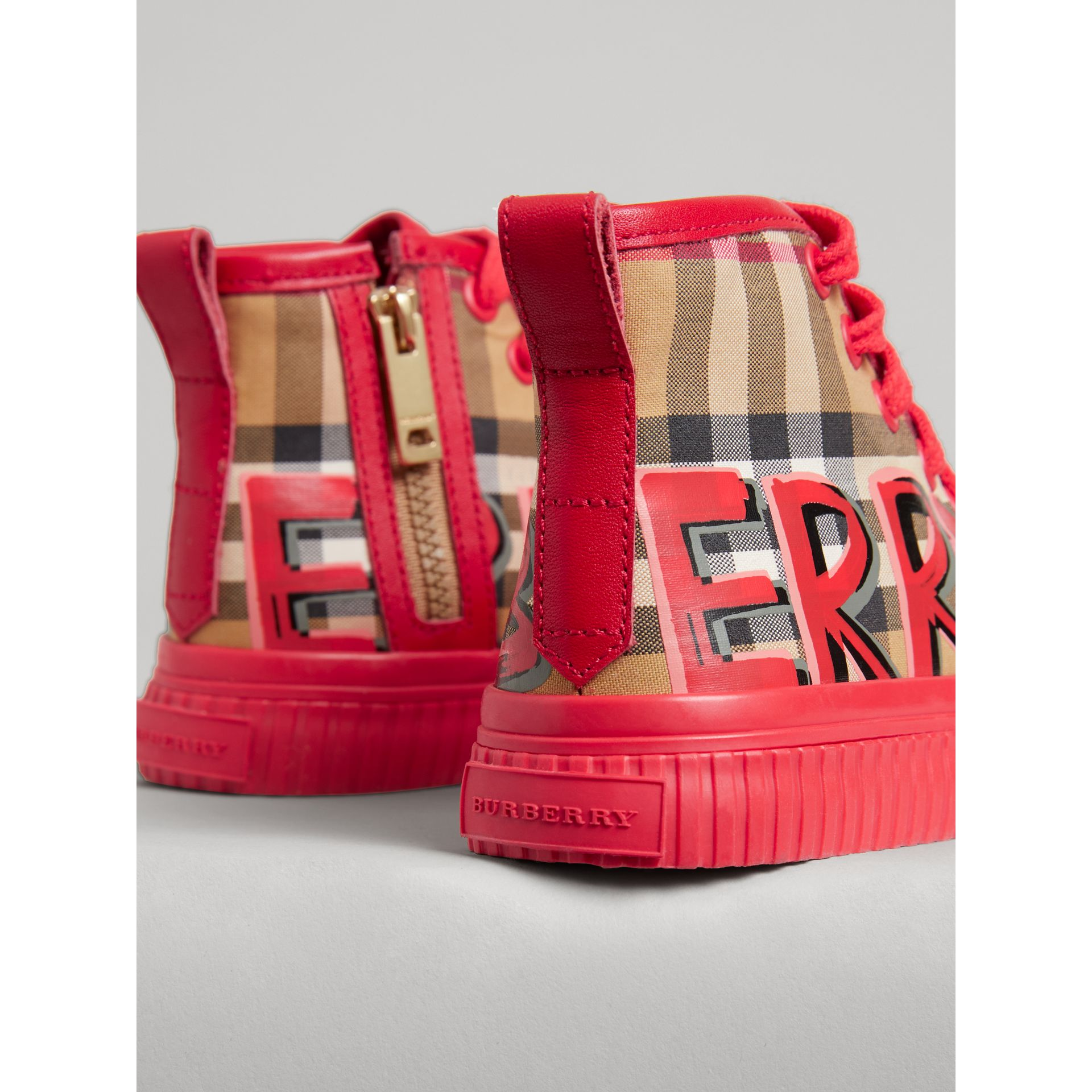 Graffiti Vintage Check High-top Sneakers in Bright Red | Burberry - gallery image 1