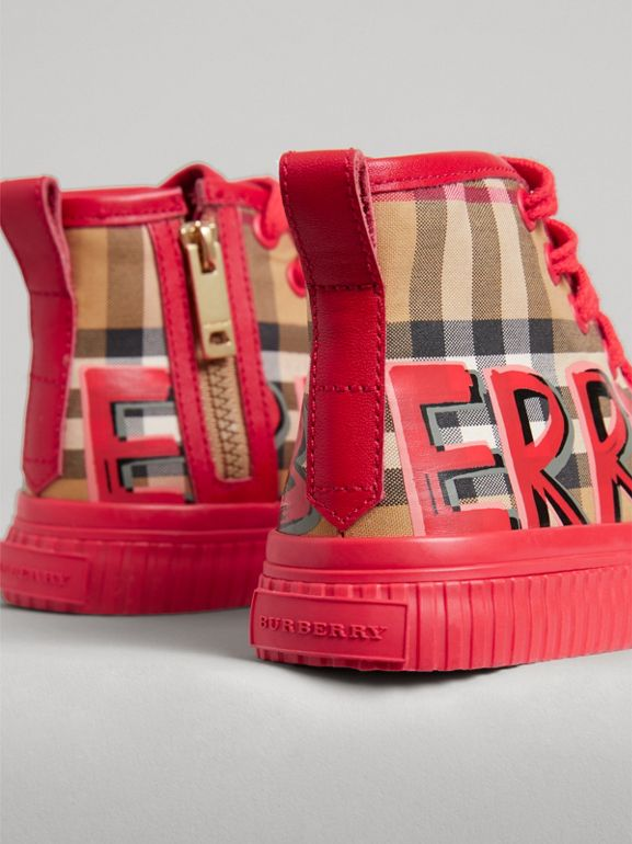Graffiti Vintage Check High-top Sneakers in Bright Red - Children | Burberry Australia - cell image 1