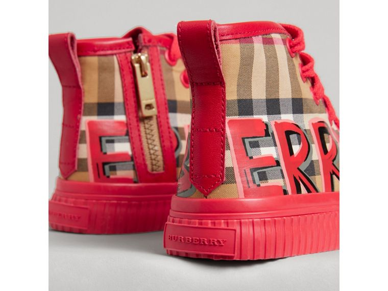 Graffiti Vintage Check High-top Sneakers in Bright Red | Burberry Hong Kong - cell image 1