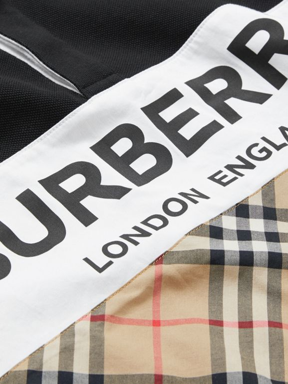 Long-sleeve Logo Print Check Panel Polo Shirt in Black | Burberry United Kingdom - cell image 1