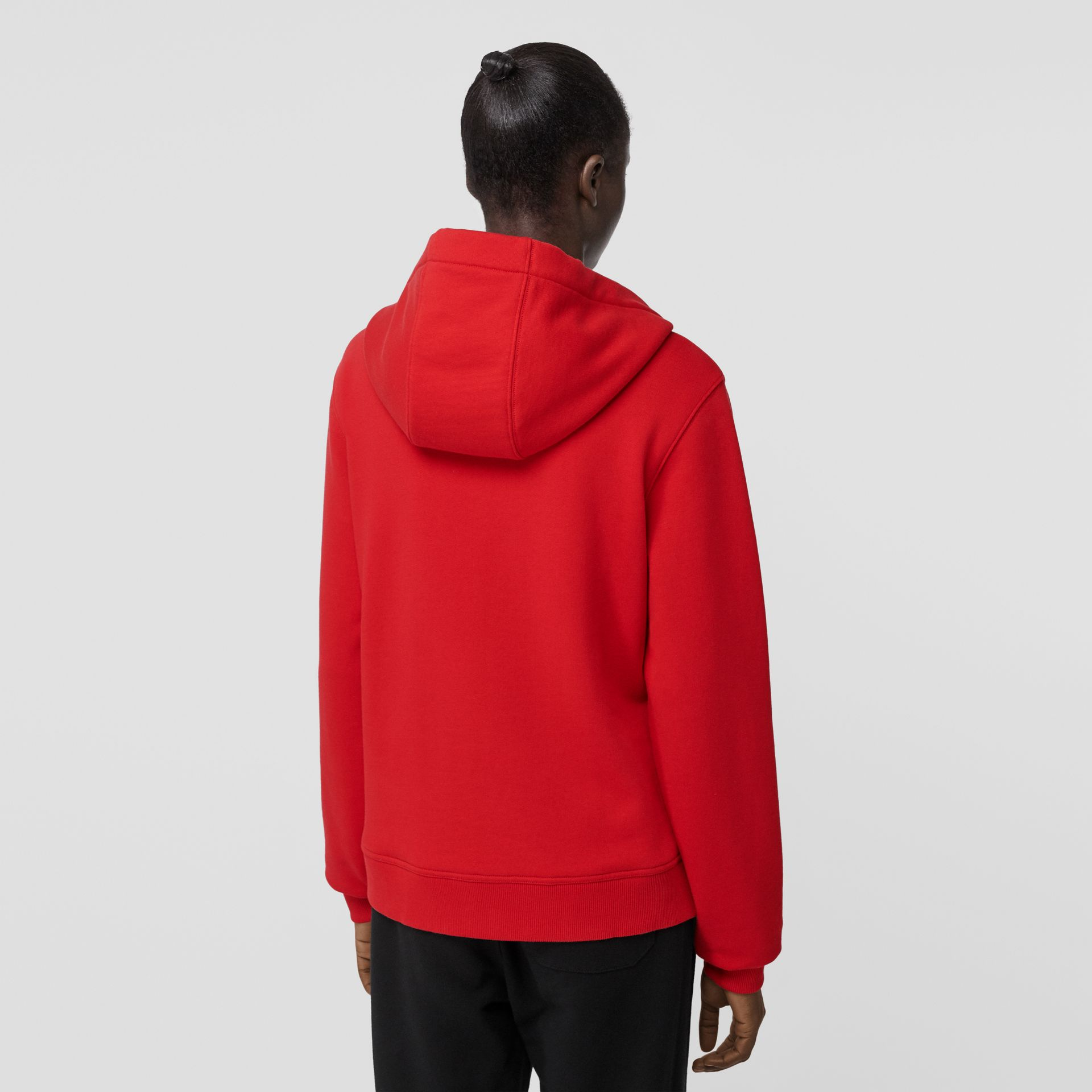 Monogram Motif Cotton Oversized Hooded Top in Bright Red - Women | Burberry - gallery image 2