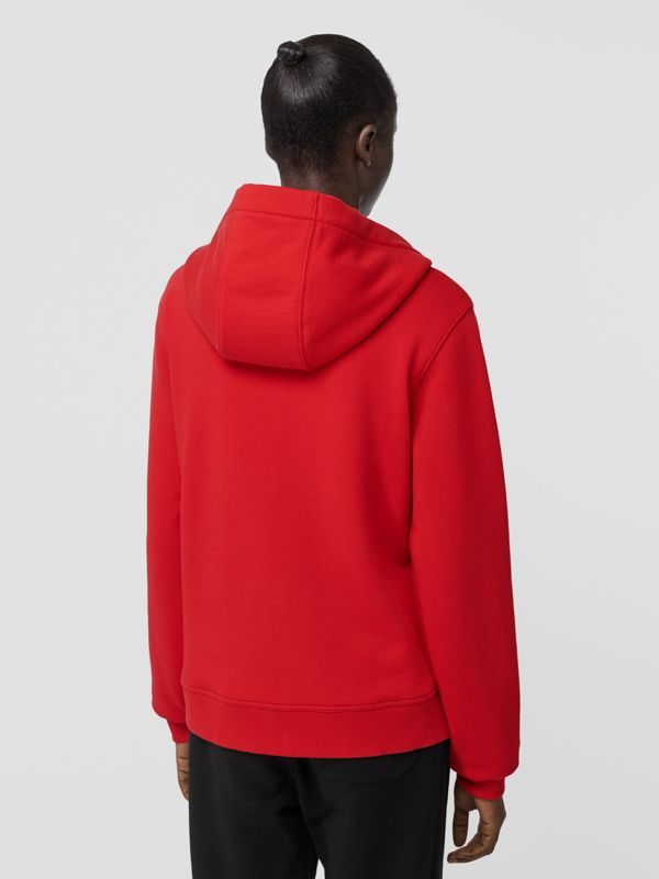Monogram Motif Cotton Oversized Hooded Top in Bright Red - Women | Burberry - cell image 2