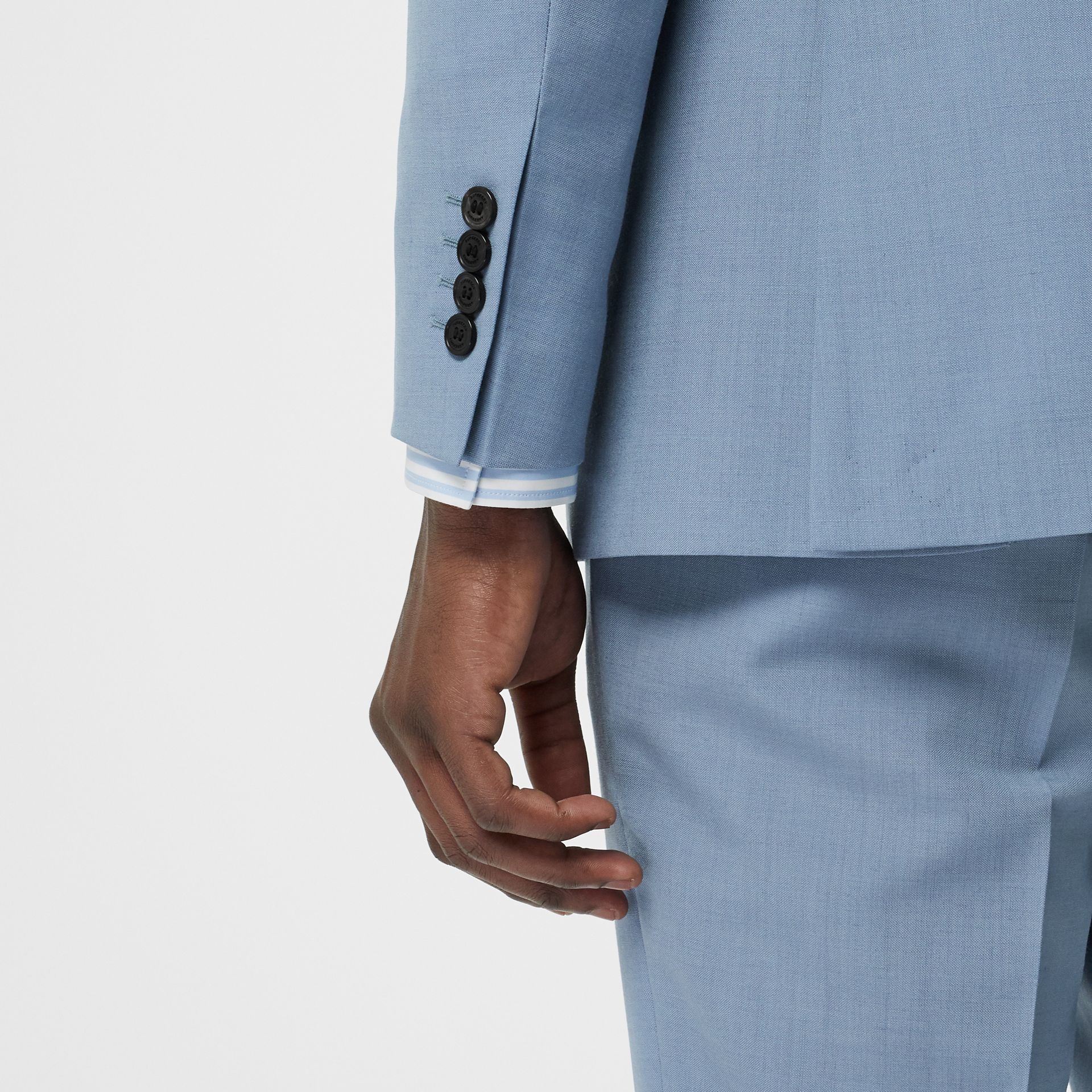 Classic Fit Wool Mohair Tailored Jacket in Pale Blue - Men | Burberry - gallery image 4