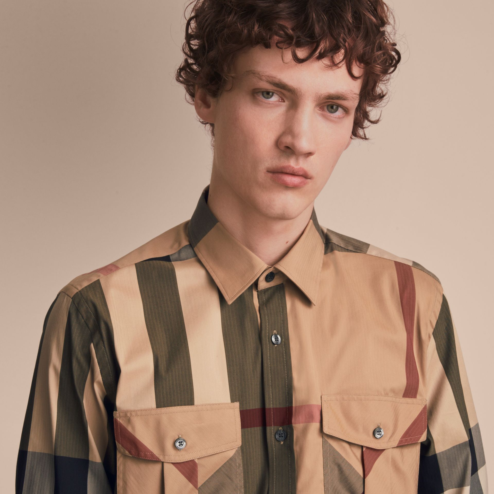 Check Cotton Blend Shirt with Military Detail in Camel - Men | Burberry Hong Kong - gallery image 5