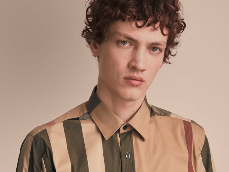 Check Cotton Blend Shirt with Military Detail - Men | Burberry - cell image 4