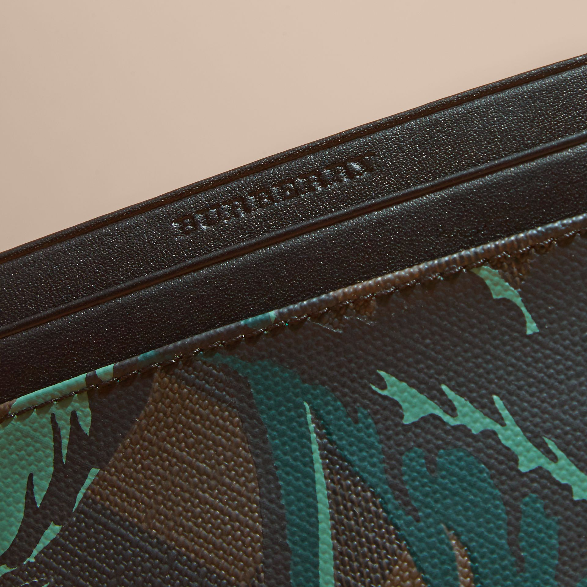 Floral Print London Check Card Case in Chocolate - Men | Burberry - gallery image 2