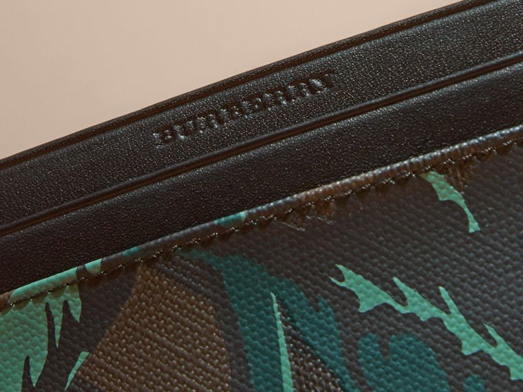 Floral Print London Check Card Case in Chocolate - Men | Burberry - cell image 1