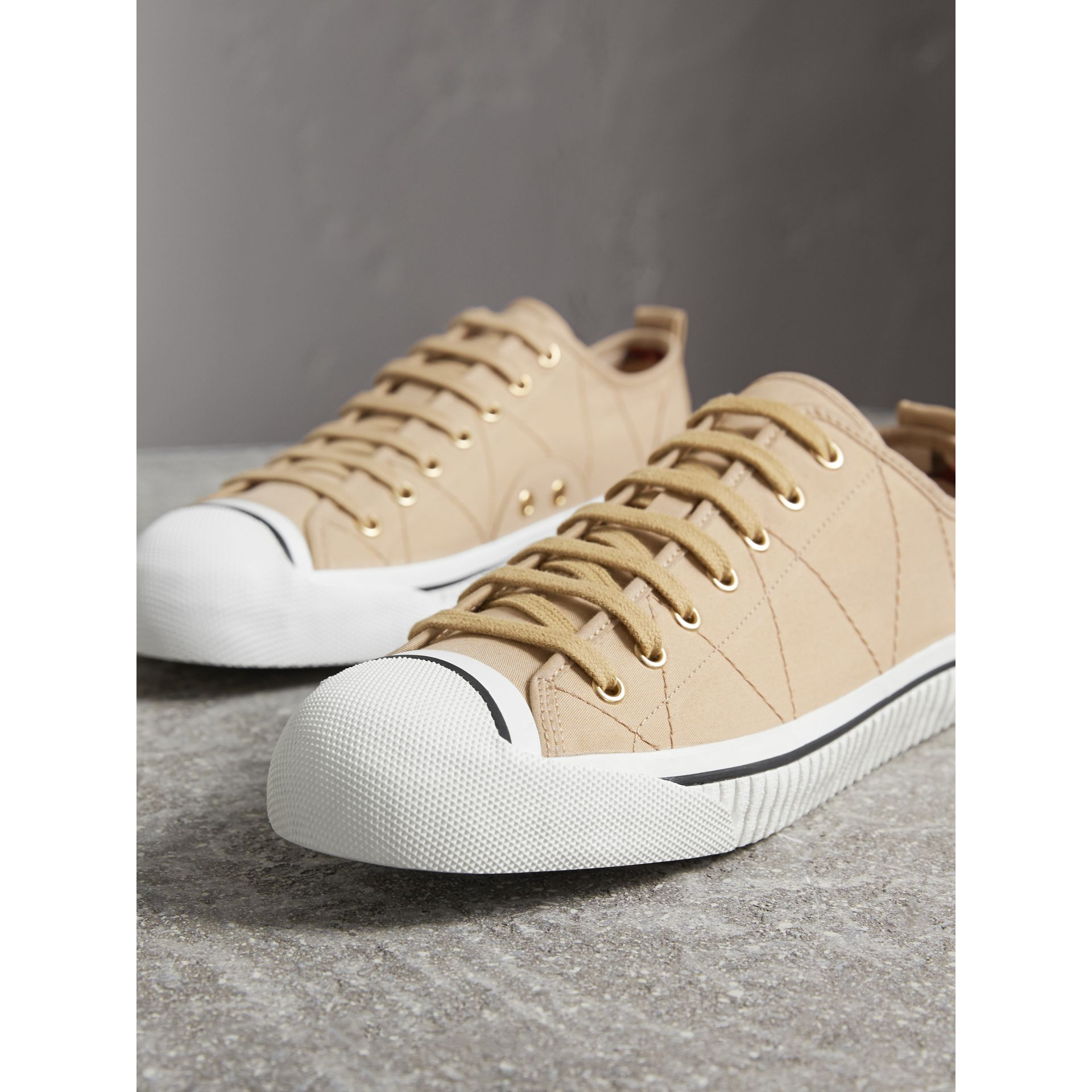 Topstitched Cotton Gabardine Trainers in Honey - Men | Burberry - gallery image 5