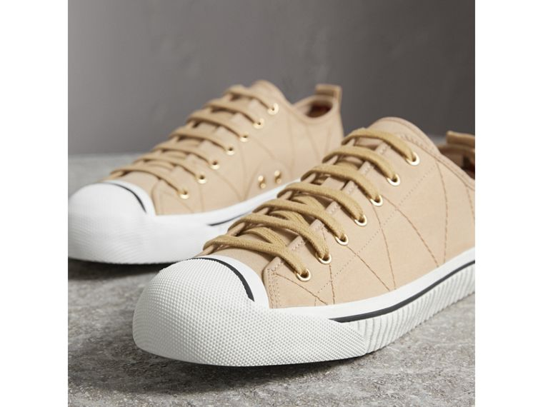 Topstitched Cotton Gabardine Trainers in Honey - Men | Burberry Australia - cell image 4