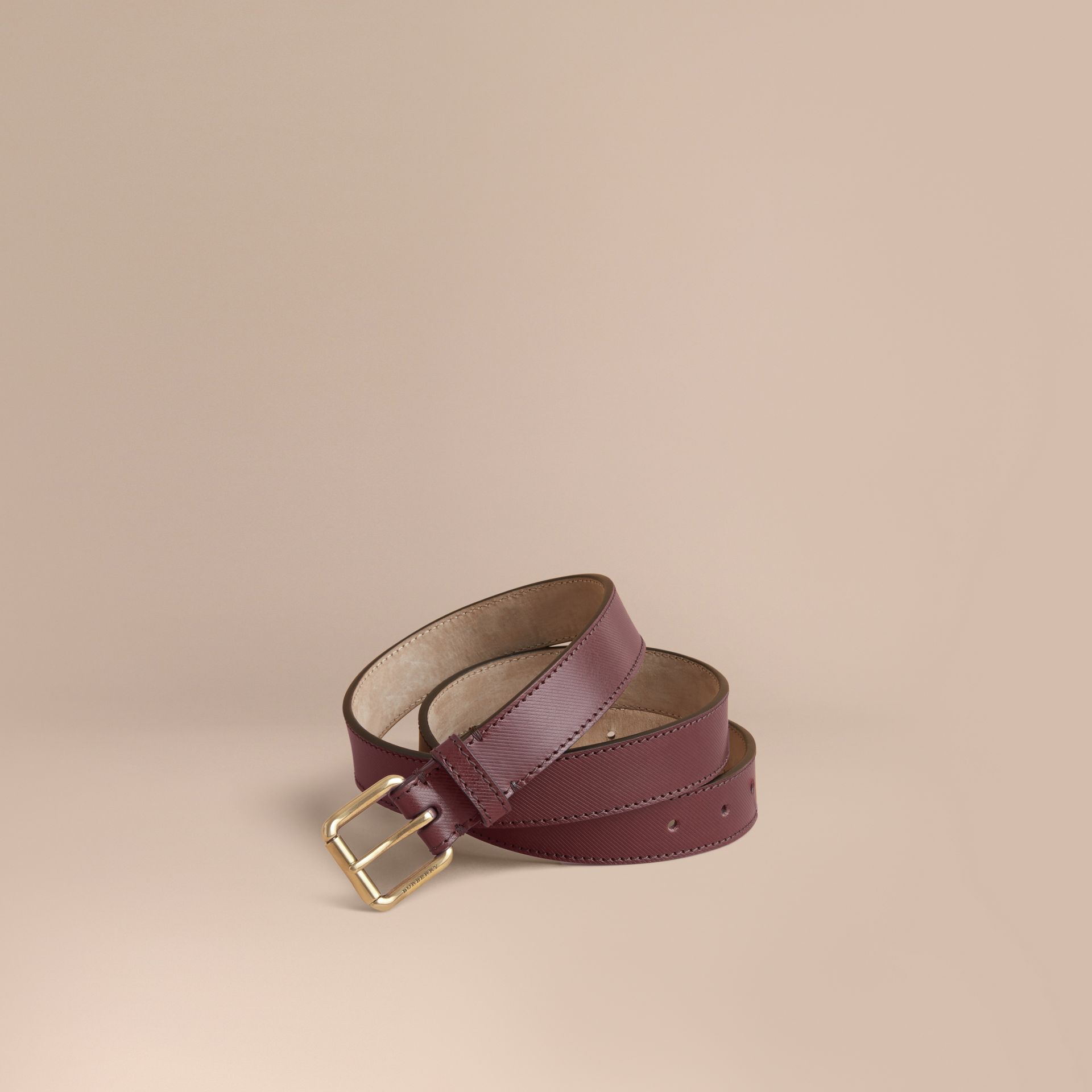 Trench Leather Belt in Wine - Men | Burberry United Kingdom - gallery image 1