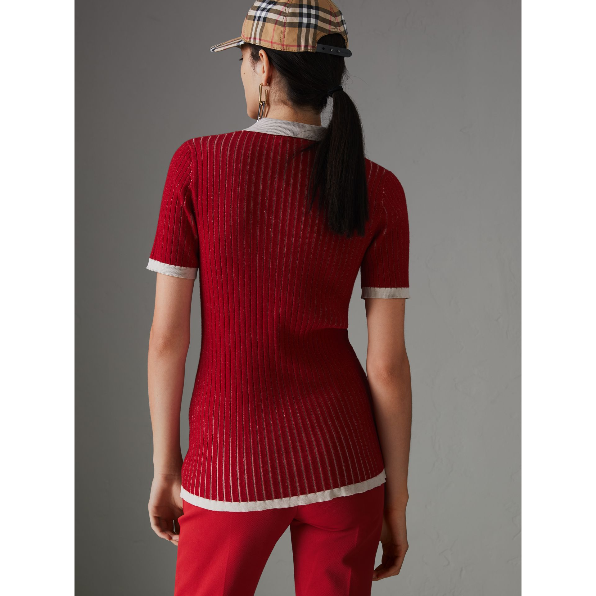 Two-tone Cashmere Silk Polo Shirt in Military Red - Women | Burberry - gallery image 2