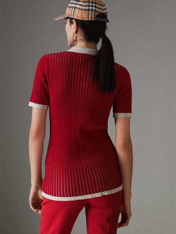 Two-tone Cashmere Silk Polo Shirt in Military Red - Women | Burberry - cell image 2