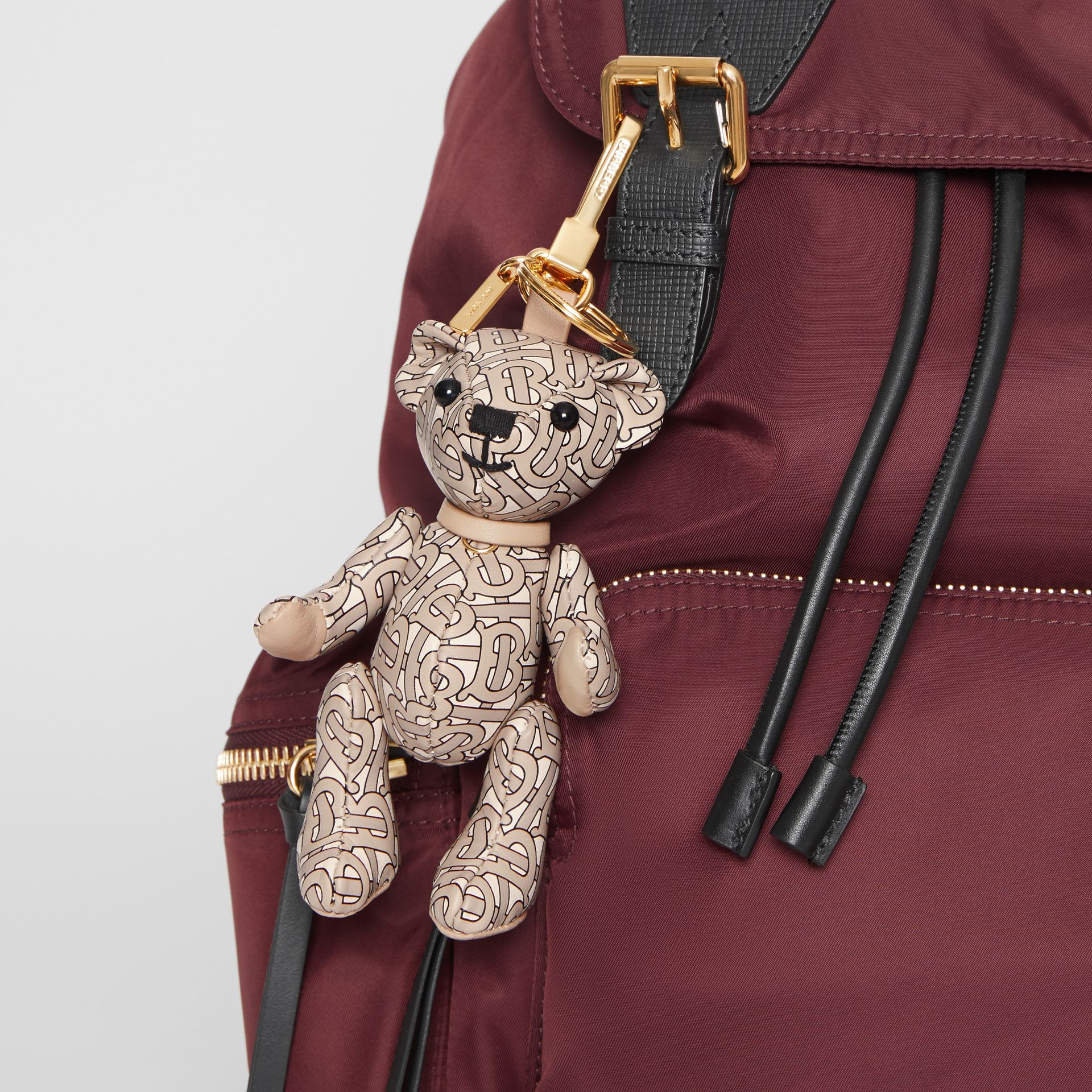 Thomas Bear Charm in Monogram Print Leather in Beige | Burberry - gallery image 4