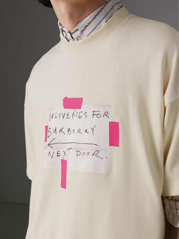 Sign Print Cotton T-shirt in Natural White - Men | Burberry Australia - cell image 1