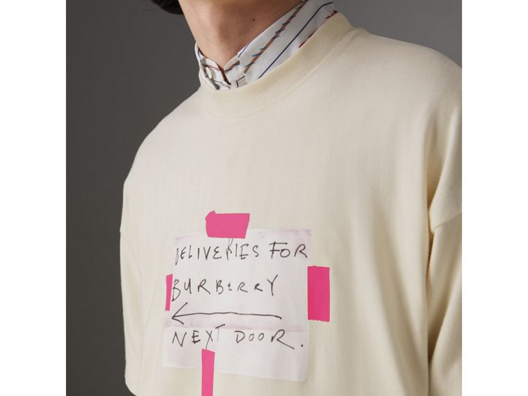 Sign Print Cotton T-shirt in Natural White - Men | Burberry - cell image 1
