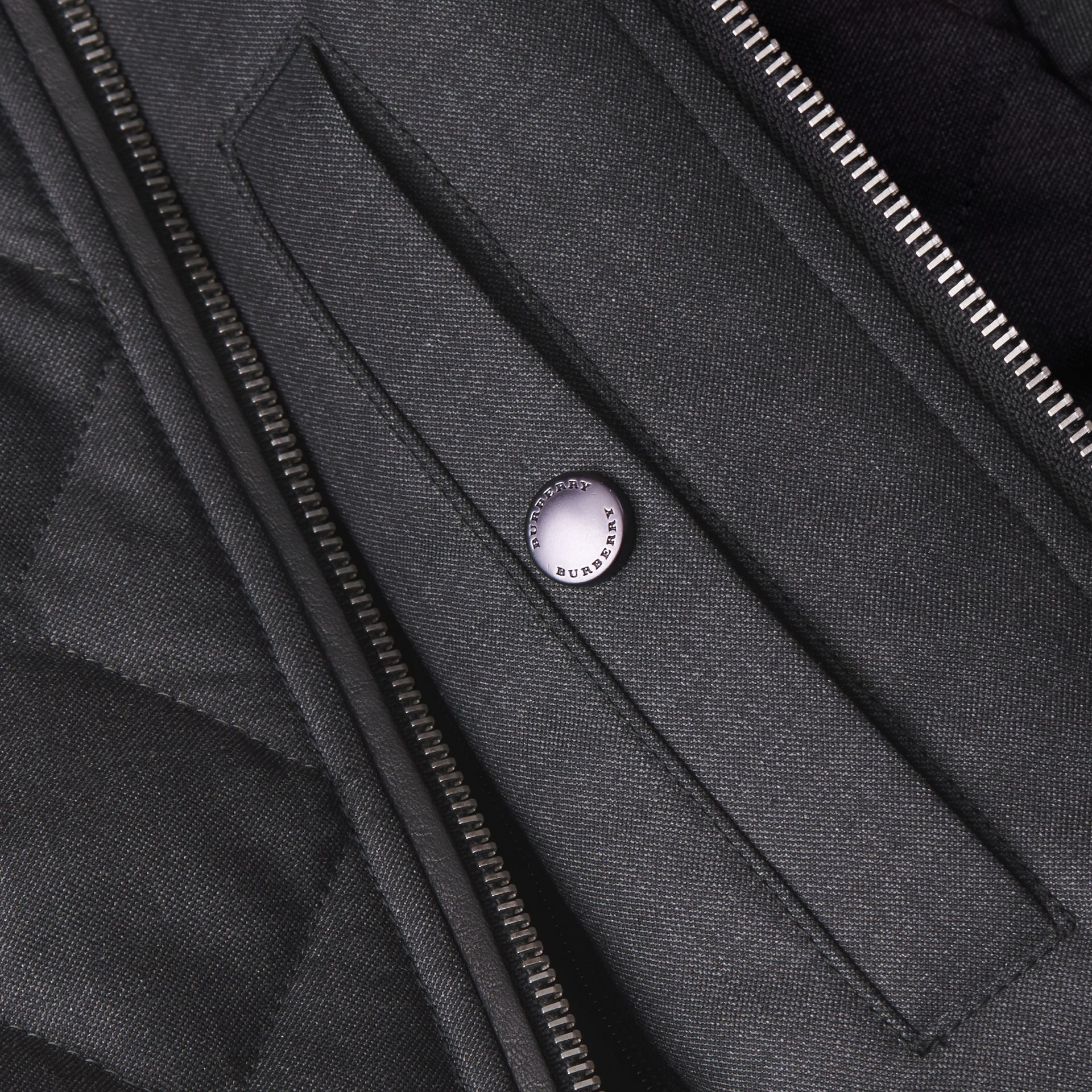 Charcoal Lambskin Trim Quilted Wool Bomber Jacket - gallery image 2