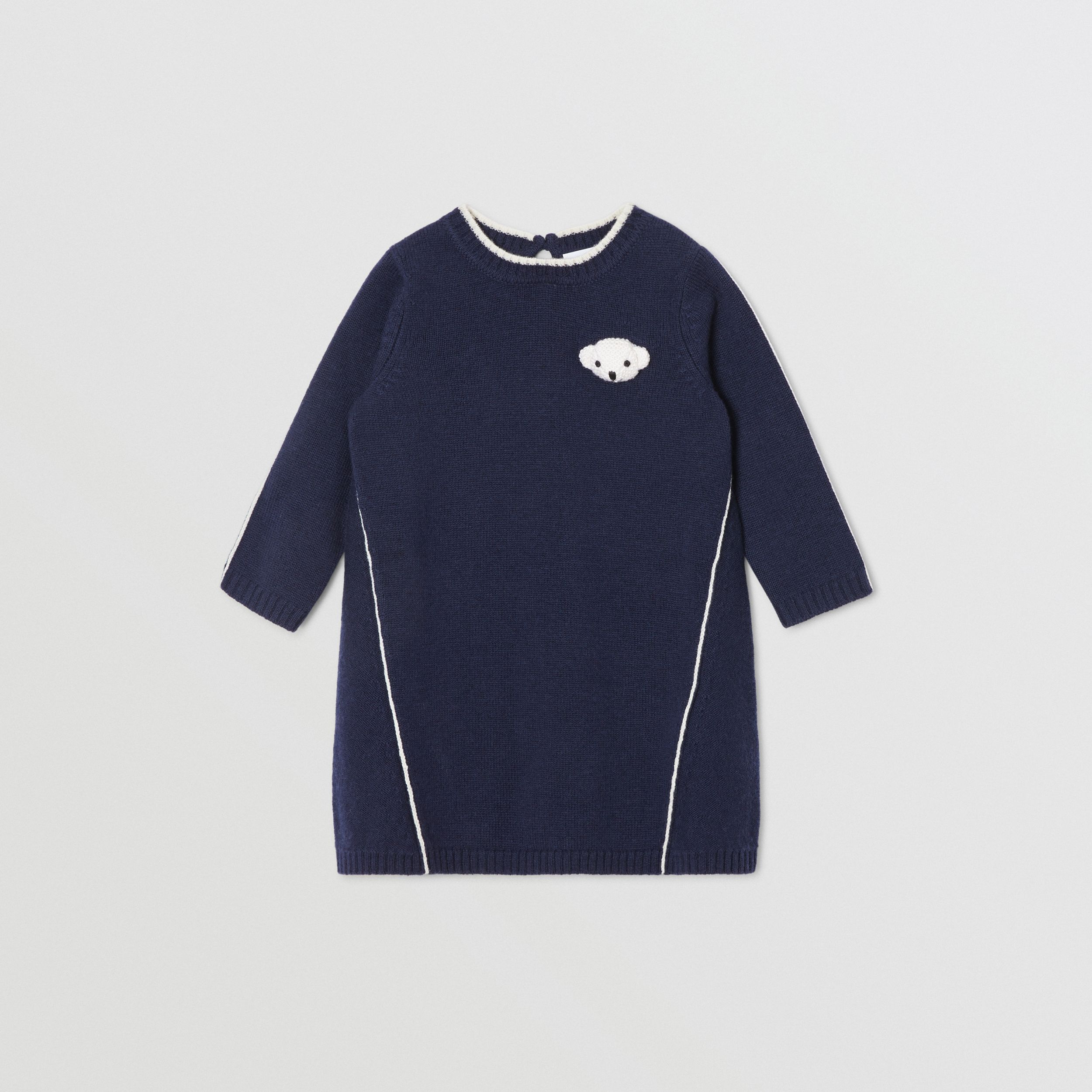 Thomas Bear Detail Wool Cashmere Sweater Dress in Navy - Children | Burberry - 1